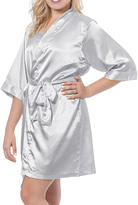 Cathy's Concepts Silver Glitter Satin Personalized Robe