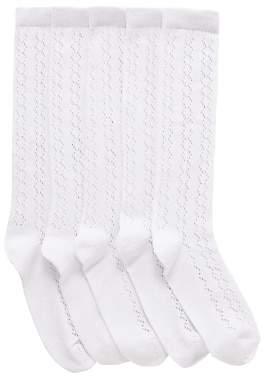 John Lewis & Partners Children's Knee High Pellerine Socks, Pack of 5, White