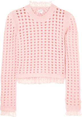 Giambattista Valli Point D'esprit-trimmed Open-knit Wool-blend Sweater