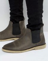 Asos Chelsea Boots In Grey Leather With Faux Shearling Lining
