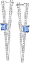Swarovski Silver-Tone Blue Crystal and Pavé Geometric Drop Earrings