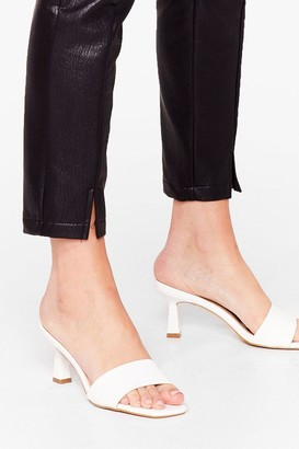 Nasty Gal Womens Quilt Trip Faux Leather Kitten Heel Mules - White - 5, White