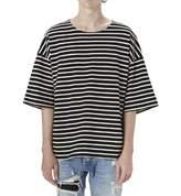 Q&Y Men's Oversized Loose Hipster Hip Hop Basic Striped Crewneck Short Sleeve T-shirt L