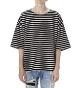 Q&Y Men's Oversized Loose Hipster Hip Hop Basic Striped Crewneck Short Sleeve T-shirt XL