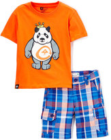 Lrg Orange King of Style Tee & Plaid Shorts - Boys