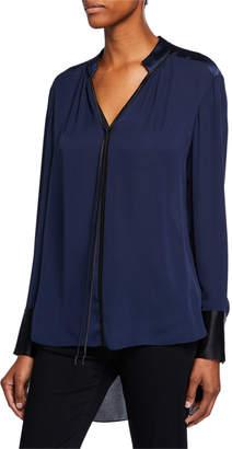 Elie Tahari Shree V-Neck Long-Sleeve High-Low Silk Blouse