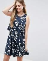 Vila Floral Asymmetric Hem Dress