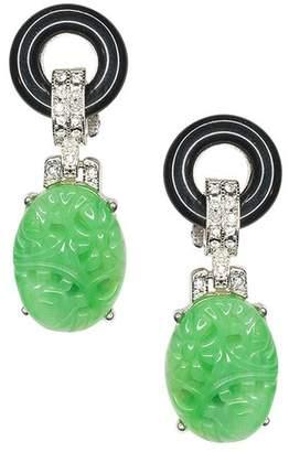 Kenneth Jay Lane Black And Jade Art Deco Pierced Or Clip Earrings