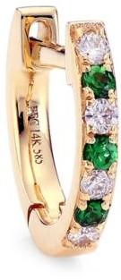 Ef Collection 14K Yellow Gold, Diamond & Tsavorite Dot Single Huggie Earring