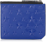 BELMONT Neon Blue Patent Card Holder with Embossed Stars