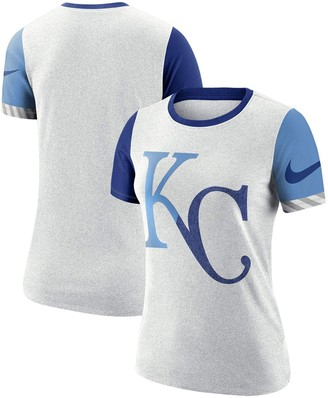 Nike Women's White Kansas City Royals Slub Two-Tone Logo Performance T-Shirt