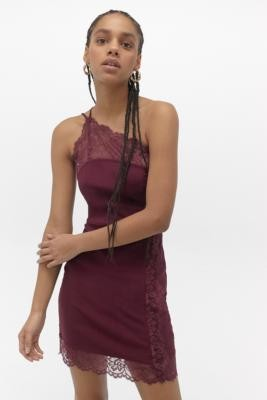 Free People Premonitions Plum Bodycon Mini Dress - purple UK 6 at Urban Outfitters