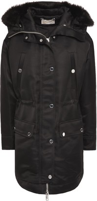 MICHAEL Michael Kors Faux Fur-trimmed Satin-crepe Hooded Jacket