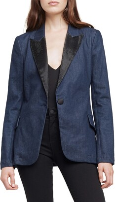 L'Agence Embellished Denim Blazer