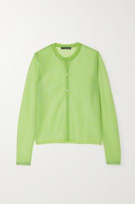 ALEXACHUNG Metallic Floral Jacquard-knit Cardigan - Light green