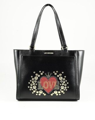 Love Moschino Black Eco-leather Love and Studs Tote Bag