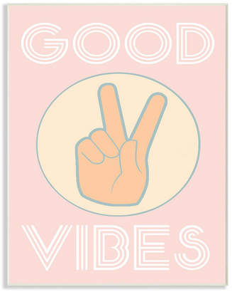 """Stupell Industries Good Vibes Peace Hand Pink Wall Plaque Art, 10"""" x 15"""""""