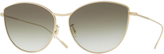 Oliver Peoples Rayette Vintage-Inspired Metal Cat-Eye Sunglasses, Gold