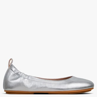 FitFlop Allegro Silver Leather Ballerina Pumps