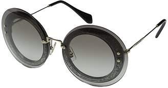Miu Miu 0MU 10RS (Transparent Fabric Glitter Silver/Grey Gradient) Fashion Sunglasses