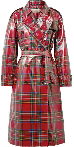 Burberry Coated-tartan Wool Trench Coat