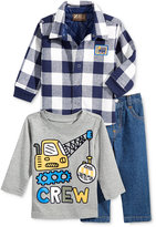 Nannette Baby Boys' 3-Pc. Construction Crew T-Shirt, Plaid Jacket & Jeans Set