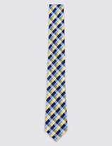 M&S Collection Pure Silk Gingham Checked Tie