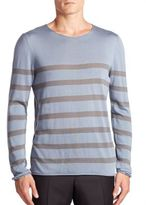 Giorgio Armani Striped Cotton, Silk & Cashmere Sweater