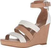Armani Jeans Women's Leather and Woven Eco Leather Wedge White 37 (US Women's 7) M