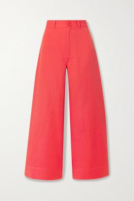 Apiece Apart Merida Linen And Cotton-blend Twill Wide-leg Pants - Papaya