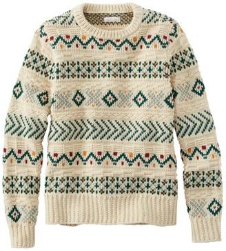 L.L. Bean Women's Signature Cotton Fisherman Sweater Cable Pullover Fair Isle Regular