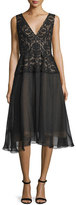Lela Rose Sleeveless V-Neck Combo Dress, Black