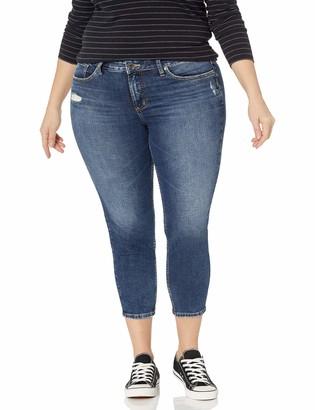 Silver Jeans Co. Women's Plus Size Suki Mid Rise Skinny Crop Jeans
