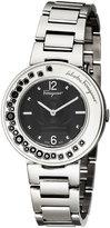 Salvatore Ferragamo 36mm Gancino Sparkling Bracelet Watch w/ Crystals, Black