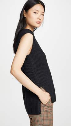 Vince Ribbed Sleeveless Tunic Top