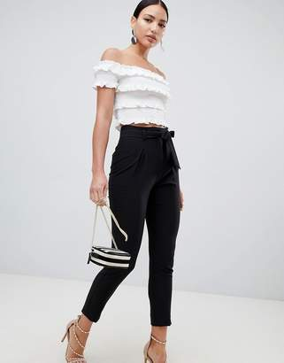 Lipsy tie front trousers in black