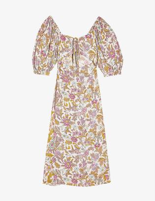 Topshop Floral cut-out crepe midi dress