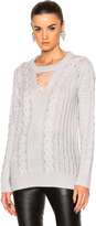 Prabal Gurung Cashmere Silk Knit V-Neck Fisherman Pullover