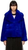 MSGM Blue Short Faux Fur Jacket