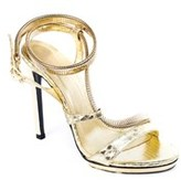 Roberto Cavalli Womens Gold Leather Gold Metal Strap Pumps.