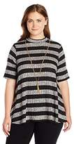 Amy Byer A. Byer Juniors Plus Size Mock Neck Short Sleeve Top with Necklace