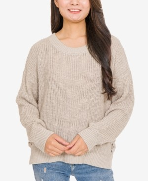 PINK ROSE Hippie Rose Juniors' Crew-Neck Side-Lace-Up Sweater
