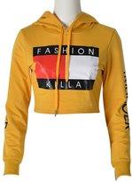 Moxeay Hoodie Literal Printing Sport Crop Top Sweatshirt Jumper Pullover Tops
