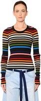 Sonia Rykiel Striped Cotton Blend Rib Knit Sweater