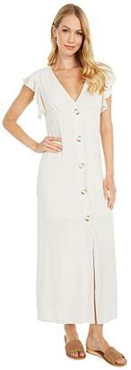 BB Dakota That's Amore Textured Crepe Button Front Midi Dress (Eggshell) Women's Dress