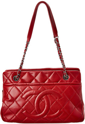 Chanel Red Quilted Caviar Leather Timeless Cc Tote