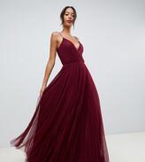 Asos Tall DESIGN Tall cami pleated tulle maxi dress