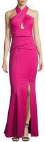 Rachel Gilbert Scuba-Knit Crisscross Halter Gown, Pink
