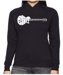 LA Pop Art Women's Word Art Hooded Sweatshirt -Don'T Stop Believin'