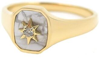 BONDEYE JEWELRY Josie Howlite Signet Ring